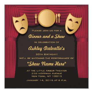 Invitaciones del fiesta del teatro de la cena del invitación 13,3 cm x 13,3cm