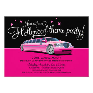 Invitaciones del fiesta del tema de Hollywood