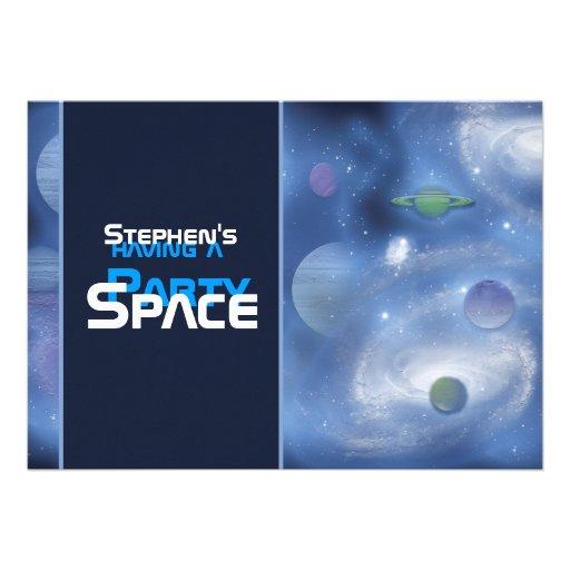 Invitaciones del fiesta del tema del espacio - pla anuncios personalizados