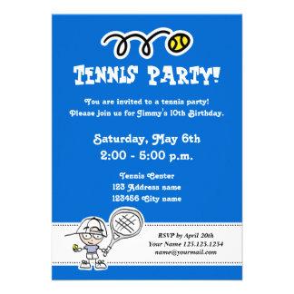 Invitaciones del fiesta del tenis para el cumpleañ comunicado