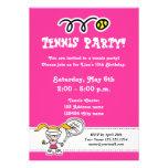Invitaciones del fiesta del tenis para el cumpleañ