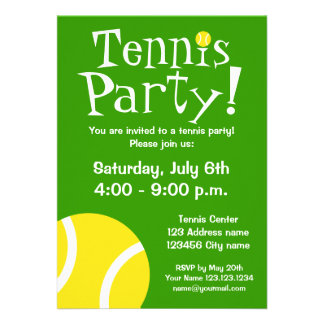 Invitaciones del fiesta del tenis para los cumplea anuncios personalizados