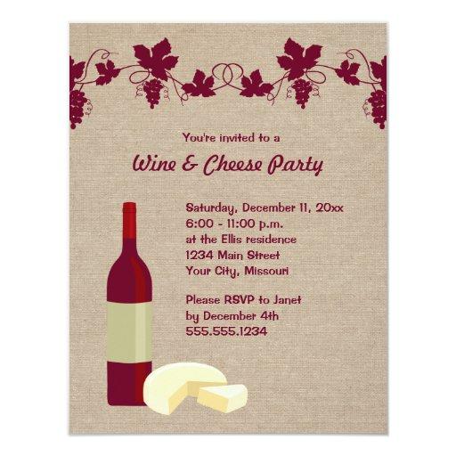 """Invitaciones del fiesta del vino y del queso invitación 4.25"""" x 5.5"""""""