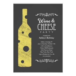 Invitaciones del fiesta del vino y del queso comunicados personalizados