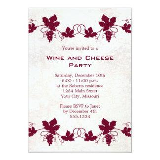 Invitaciones del fiesta del vino y del queso invitación 12,7 x 17,8 cm