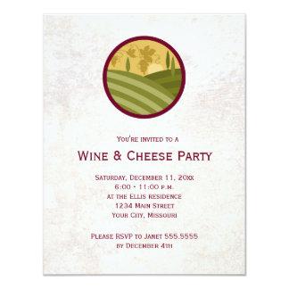 Invitaciones del fiesta del vino y del queso invitación 10,8 x 13,9 cm