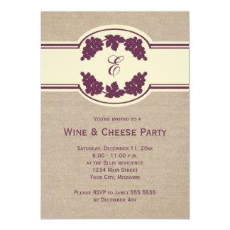 Invitaciones del fiesta del vino y del queso del invitación 12,7 x 17,8 cm