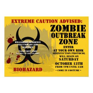 Invitaciones del fiesta del zombi del Biohazard Comunicados Personales