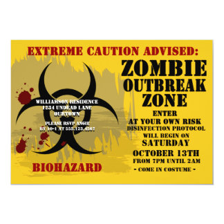 """Invitaciones del fiesta del zombi del Biohazard Invitación 5"""" X 7"""""""