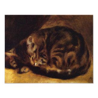 Invitaciones del gato el dormir de Renoir Invitación 10,8 X 13,9 Cm