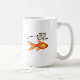 Invitaciones del gato (ratones y pescados) taza de café