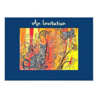 Invitaciones del gato y de la mariposa de la flor invitación 12,7 x 17,8 cm