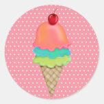 Invitaciones del helado etiqueta redonda