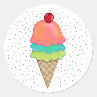 Invitaciones del helado pegatina redonda