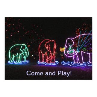 """Invitaciones del juego de los elefantes invitación 5"""" x 7"""""""