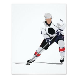 Invitaciones del jugador del hockey sobre hielo anuncio personalizado