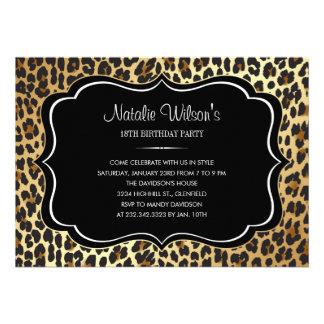Invitaciones del leopardo del estampado de animale