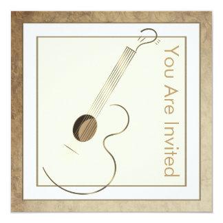 Invitaciones del logotipo de la guitarra acústica invitación 13,3 cm x 13,3cm
