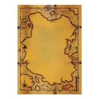 Invitaciones del mapa del tesoro del pirata