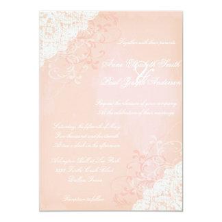 Invitaciones del melocotón y del boda del cordón invitación 12,7 x 17,8 cm