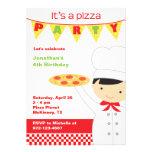 Invitaciones del muchacho del fiesta de la pizza