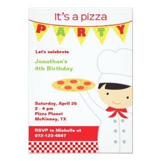 """Invitaciones del muchacho del fiesta de la pizza invitación 5"""" x 7"""""""