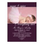 Invitaciones del nacimiento de la foto del chica comunicados