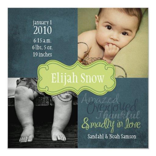 """Invitaciones del nacimiento de la nieve de Elías Invitación 5.25"""" X 5.25"""""""