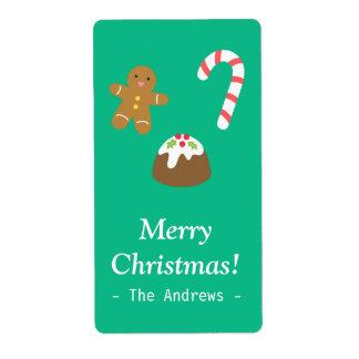 Invitaciones del navidad, hombre de pan de jengibr etiquetas de envío