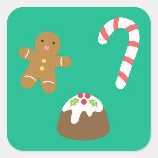 Invitaciones del navidad - hombre de pan de pegatina cuadrada
