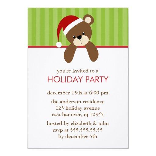 Invitaciones del oso del navidad invitación 12,7 x 17,8 cm