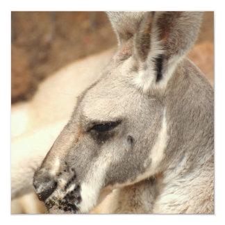 """Invitaciones del perfil del canguro invitación 5.25"""" x 5.25"""""""