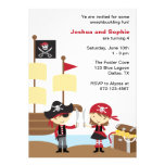 Invitaciones del pirata del muchacho y del chica comunicados personalizados