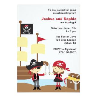 """Invitaciones del pirata del muchacho y del chica invitación 5"""" x 7"""""""