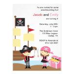 Invitaciones del pirata del muchacho y del chica invitaciones personales