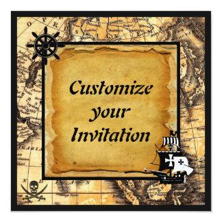 """Invitaciones del pirata invitación 5.25"""" x 5.25"""""""
