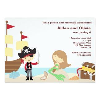 """Invitaciones del pirata y de la sirena invitación 5"""" x 7"""""""