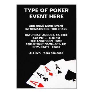 """Invitaciones del póker invitación 5"""" x 7"""""""