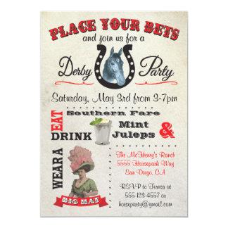 """Invitaciones del poster del fiesta de Derby de la Invitación 5"""" X 7"""""""
