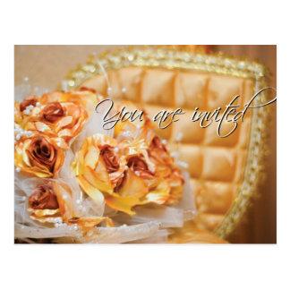 Invitaciones del ramo del boda postal