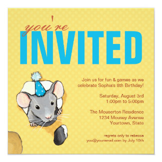 """Invitaciones del ratón y de la fiesta de invitación 5.25"""" x 5.25"""""""