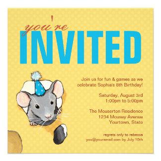 Invitaciones del ratón y de la fiesta de cumpleaño invitación