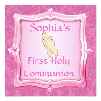 """INVITACIONES del ROSA de la comunión santa del Invitación 5.25"""" X 5.25"""""""