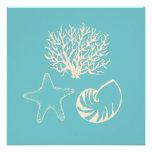 Invitaciones del Seashell de la turquesa Comunicado