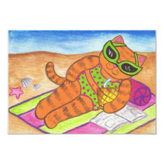 Invitaciones del verano del gato del bikini invitación 8,9 x 12,7 cm