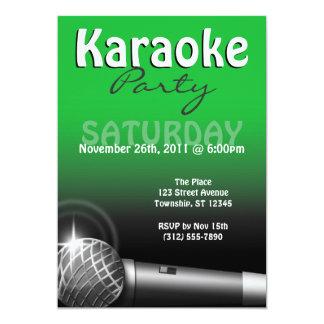 Invitaciones del verde del fiesta del Karaoke Invitación 12,7 X 17,8 Cm