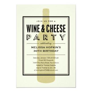 Invitaciones del vino y del queso invitación 12,7 x 17,8 cm