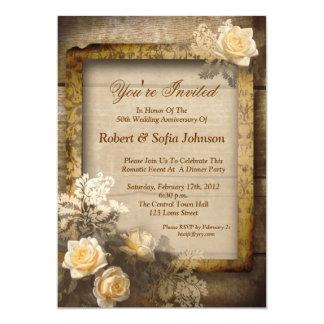 invitaciones del vintage del aniversario de boda anuncio