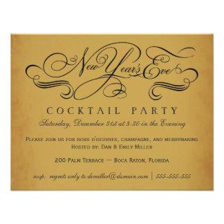 Invitaciones del vintage del cóctel de Noche Vieja Anuncio