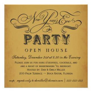Invitaciones del vintage del fiesta de Noche Vieja Comunicados Personales